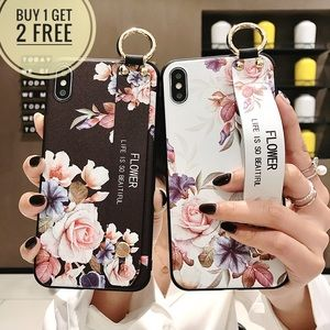 Floral Phone case with Wrist Strap New iPhone
